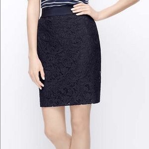 Ann Taylor Navy Lace Pencil Skirt - Size 8